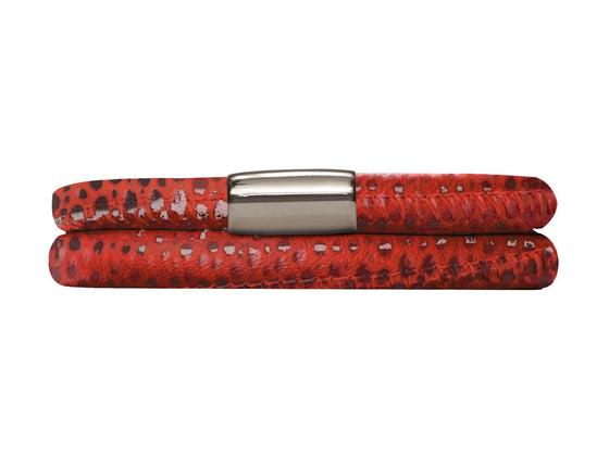 Endless Jennifer Lopez Red Reptile, 40cm/8.0inch Double Leather Bracelet Steel Finish