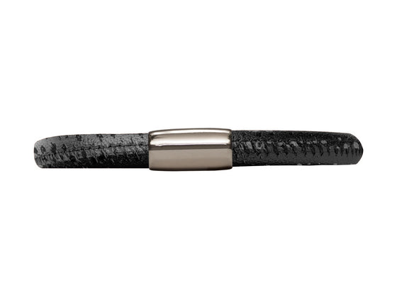 Endless Jewelry - Jennifer Lopez Collection Black Reptile, 20cm/8.0inch Single Leather Bracelet Steel Finish