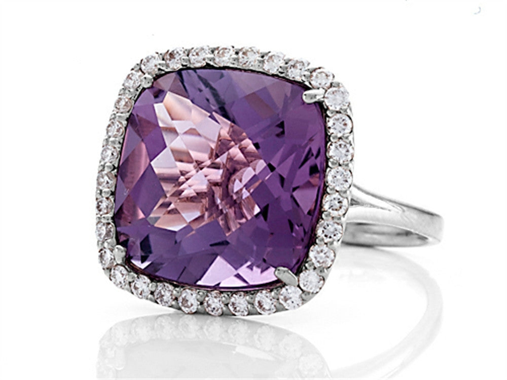 Finejewelers Anti Tarnish Sterling Silver 14mm Cushion Cut Amethyst and Round White Sapphire Ring