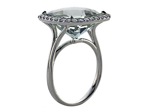 Finejewelers Anti Tarnish Sterling Silver 14mm Cushion Cut Mint Green Quartz and Round White Sapphire Ring