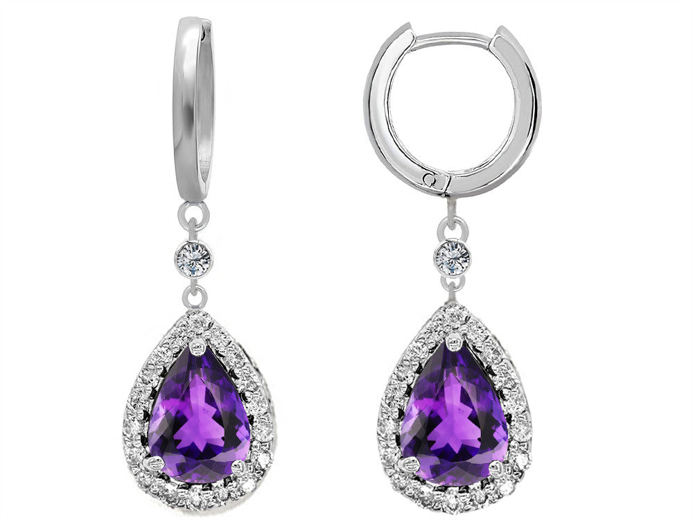 Star K Pear Shape Simulated Amethyst Drop Earrings Dangling On Huggie Hoop