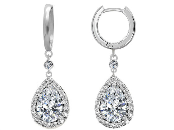 Star K Pear Shape 9x7mm White Topaz Drop Earrings Dangling On Huggie Hoop