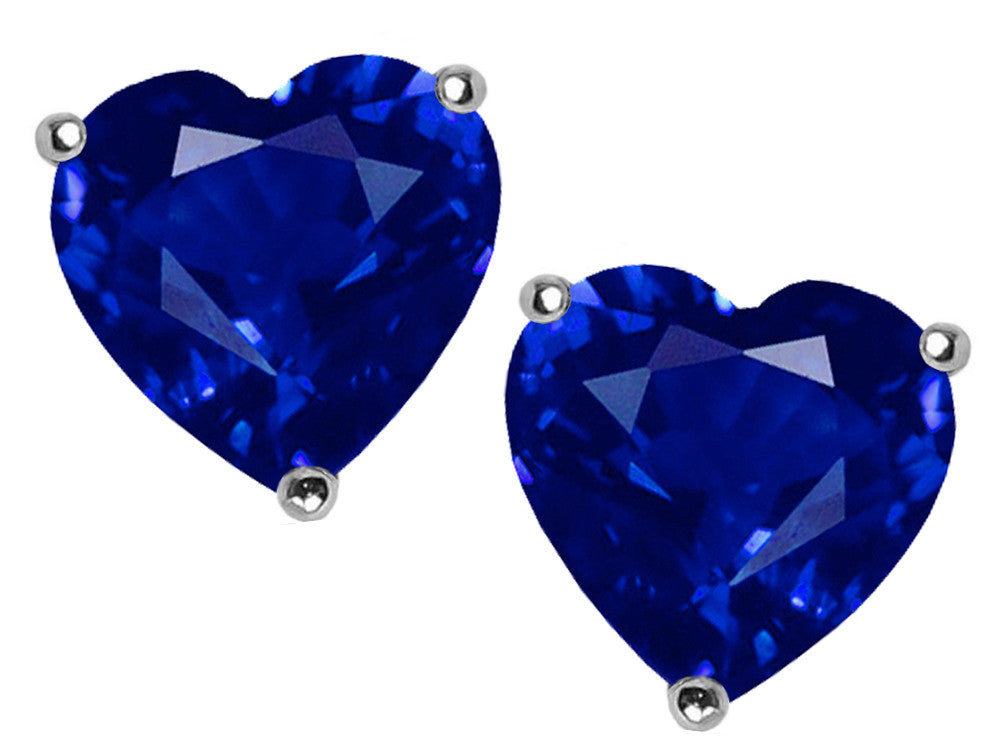 Star K 7mm Heart Created Sapphire Earrings Studs Sterling Silver