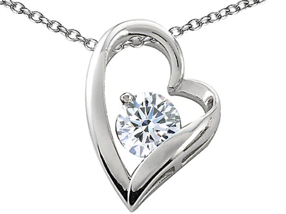 Star K 7mm Round White Topaz Floating Heart Pendant Necklace