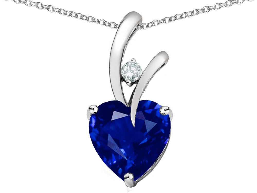 Star K Heart-Shape 8mm Created Sapphire Pendant Necklace Sterling Silver