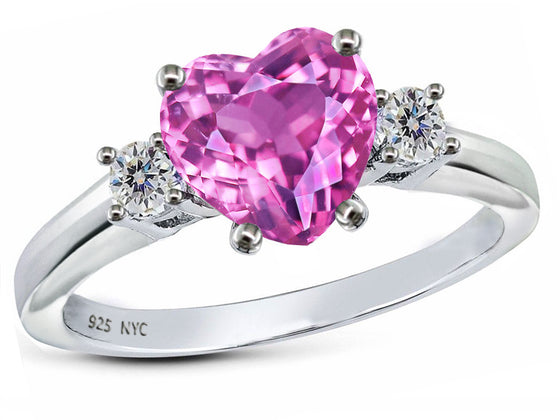 Star K 8mm Heart Shape Created Pink Sapphire Ring