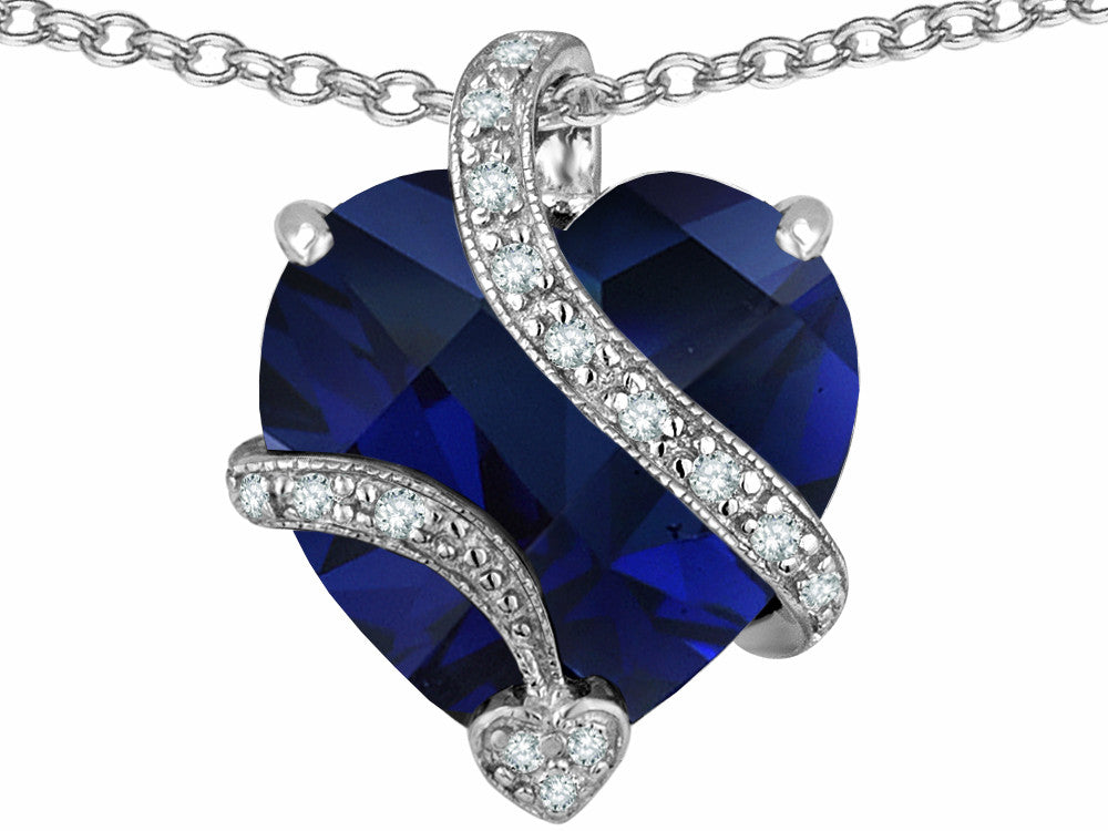 Star K 15mm Heart-Shape Simulated Blue Sapphire Love Pendant Necklace Sterling Silver