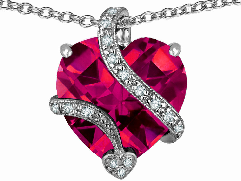 Star K 15mm Heart-Shape Created Ruby Love Pendant Necklace Sterling Silver