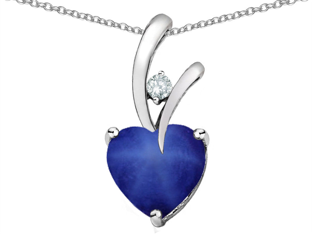 Star KHeart-Shape 8mm Created Star Sapphire Pendant Necklace Sterling Silver