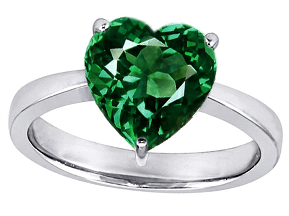 Star K Large 10mm Heart Shape Solitaire Ring with Simulated Emerald