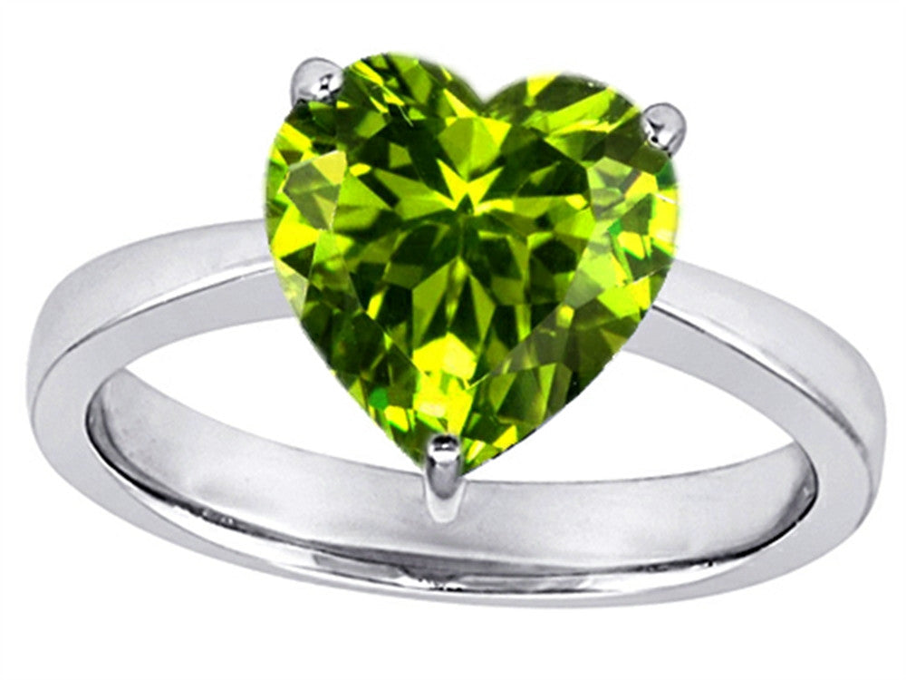 Star K Large 10mm Heart Shape Solitaire Ring With Simulated Peridot