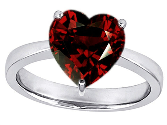Star K Large 10mm Heart Shape Solitaire Ring With Simulated Garnet