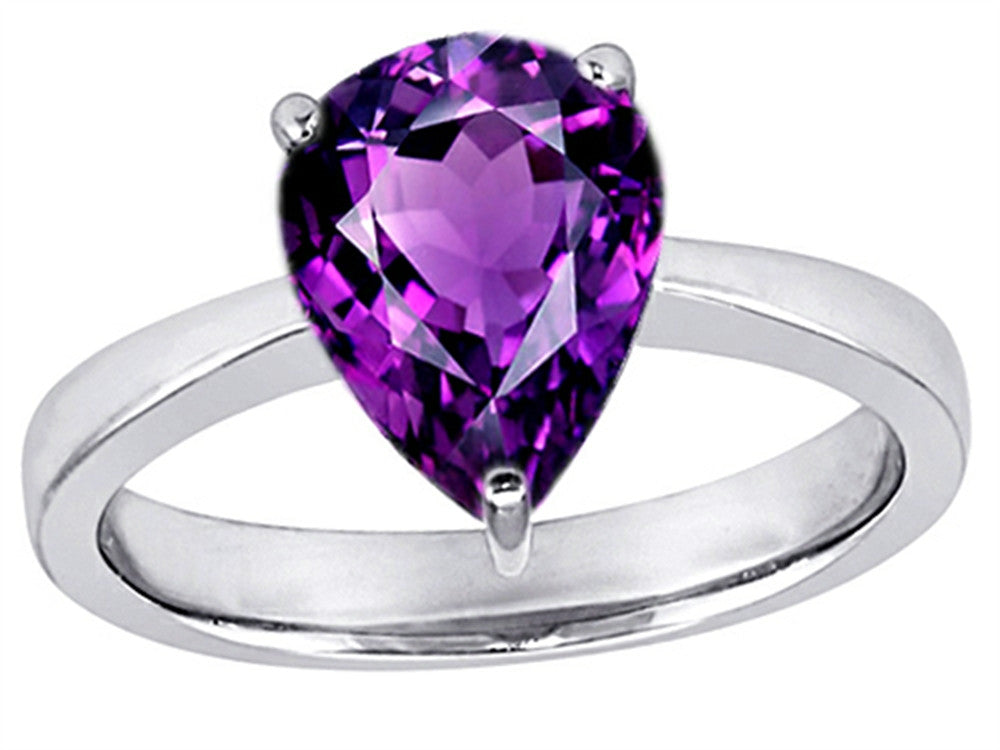 Star K Large 11x8 Pear Shape Solitaire Ring With Simulated Amethyst