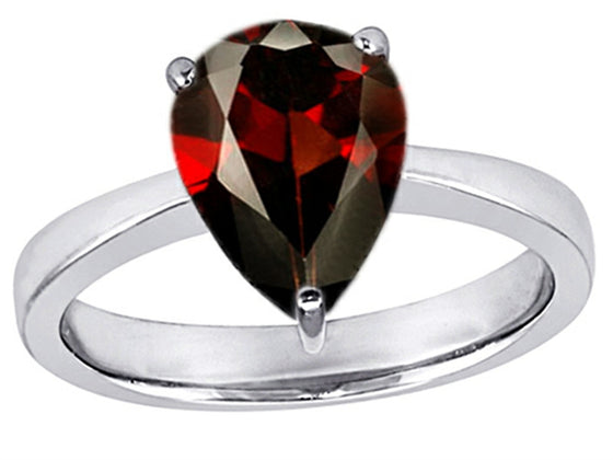 Star K Large 11x8 Pear Shape Solitaire Ring With Simulated Garnet