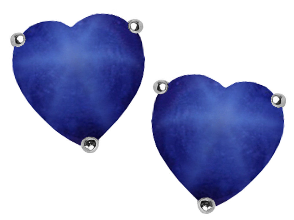 Star K 7mm Heart-Shape Created Star Sapphire Earrings Studs Sterling Silver