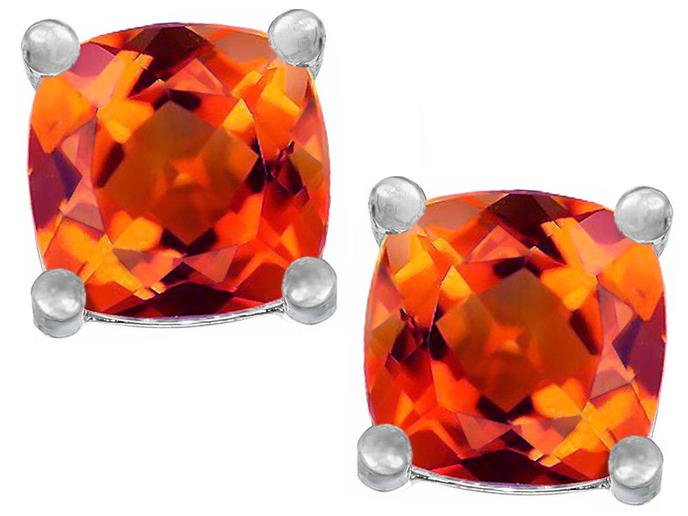Star K Cushion-Cut 7mm Simulated Mexican Fire Opal Earrings Studs Sterling Silver