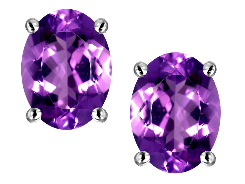 Star K Oval 8x6mm Simulated Amethyst Earrings Studs
