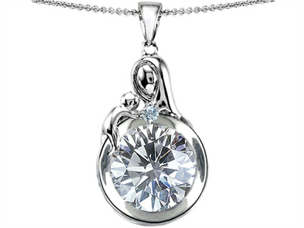 Star K Loving Mother With Child Family Pendant Necklace With Round 10mm Genuine White Topaz