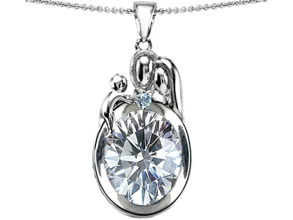 Star K Loving Mother And Father With Child Pendant Necklace With Genuine 11x9 Oval White Topaz