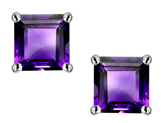 Star K Square 7mm Simulated Amethyst Earring Studs