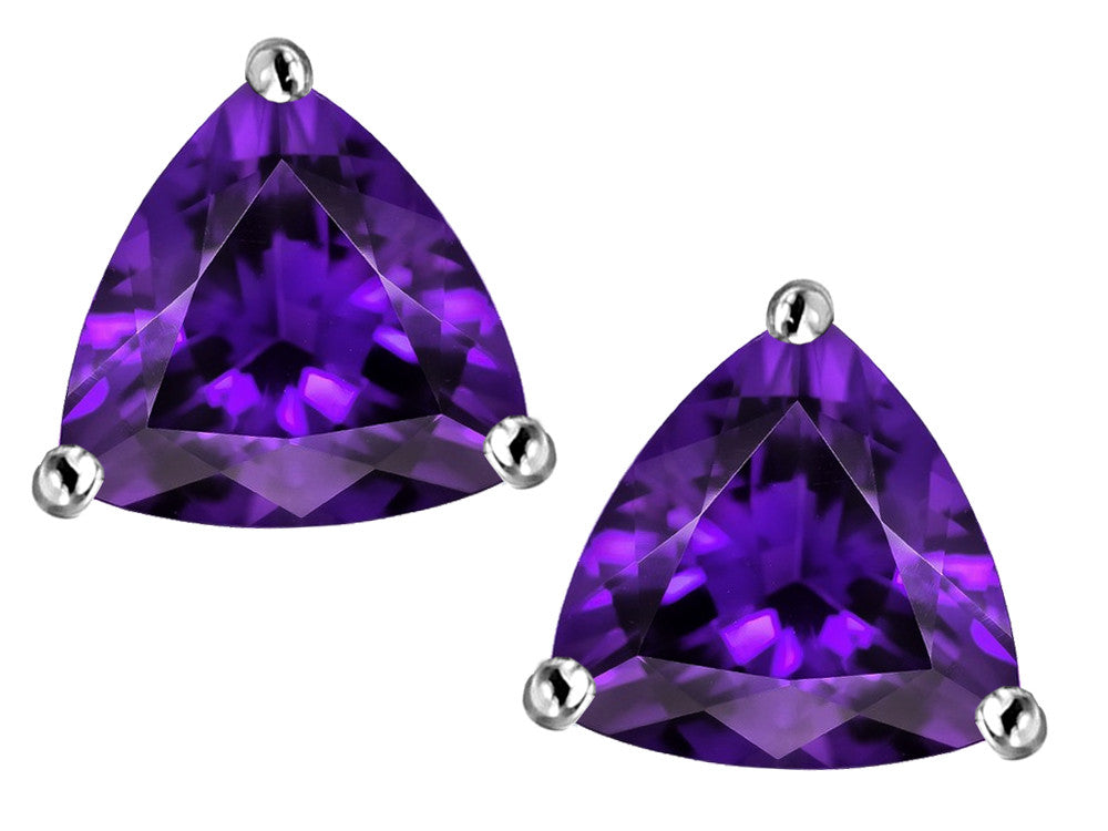 Star K Trillion 7mm Simulated Amethyst Earrings Studs