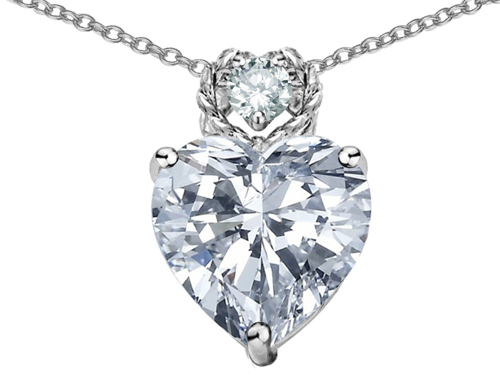 Star K 8mm Heart Shape Genuine White Topaz Pendant Necklace