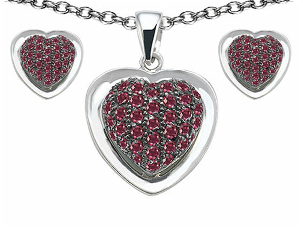 Star K Created Ruby Heart Shape Love Pendant with matching earrings