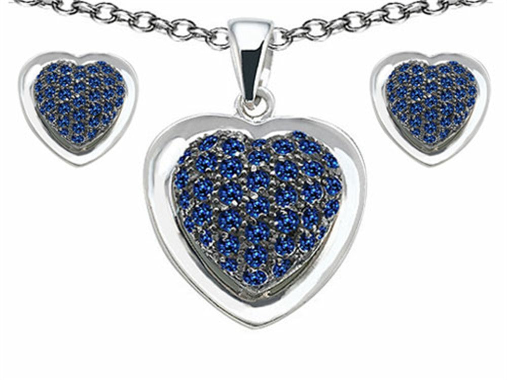 Star K Created Sapphire Heart Shape Love Pendant with matching earrings