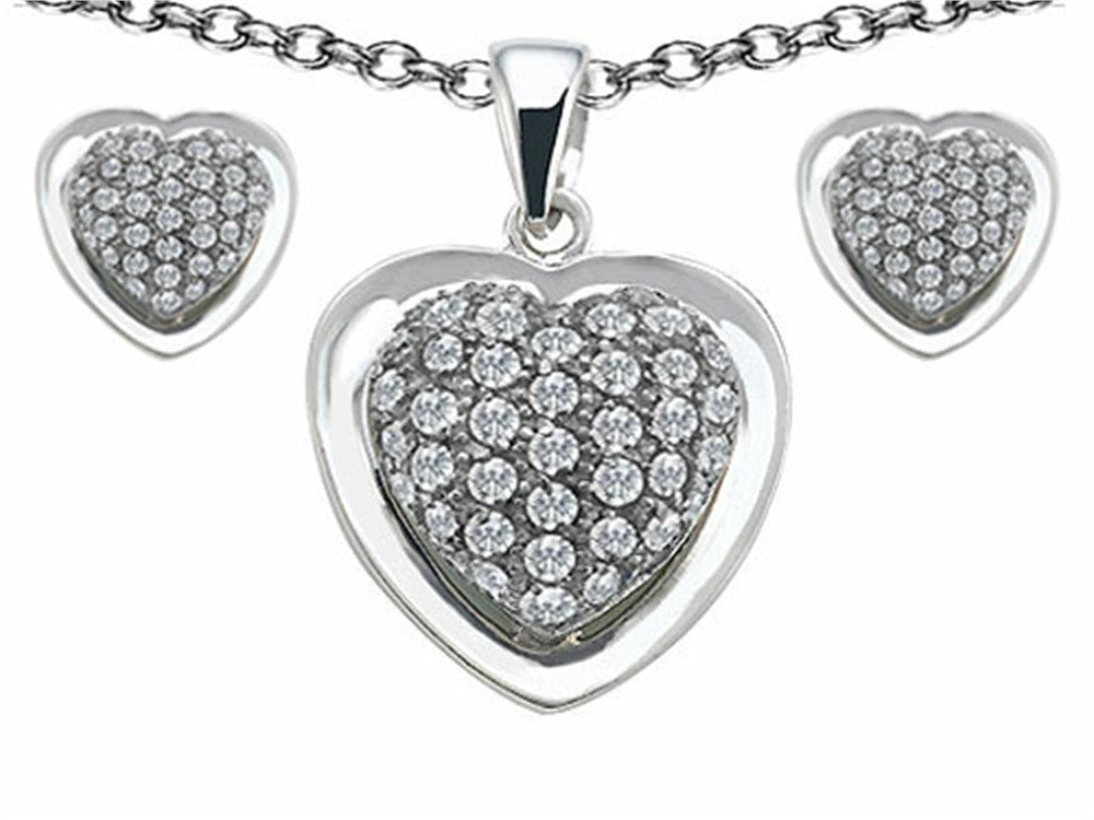Star K Cubic Zirconia Heart Shape Love Pendant with matching earrings