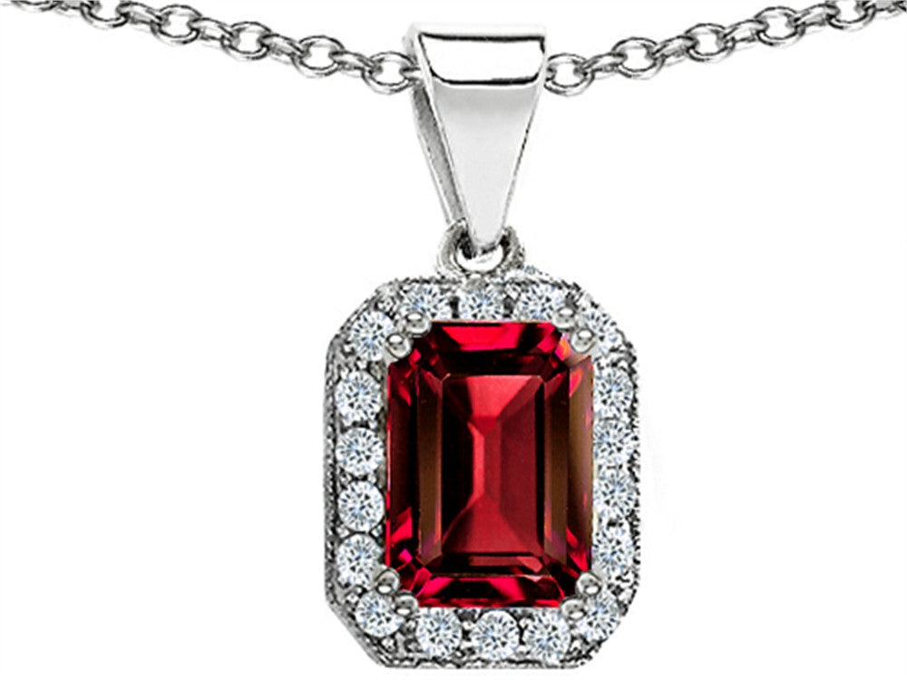 Star K Emerald Octagon Cut Created Ruby Pendant Necklace Sterling Silver