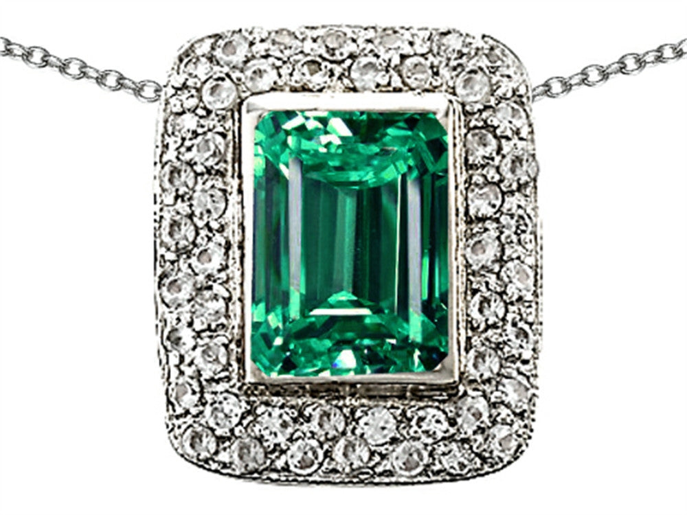 Star K Emerald Cut Simulated Emerald Pendant Necklace Sterling Silver