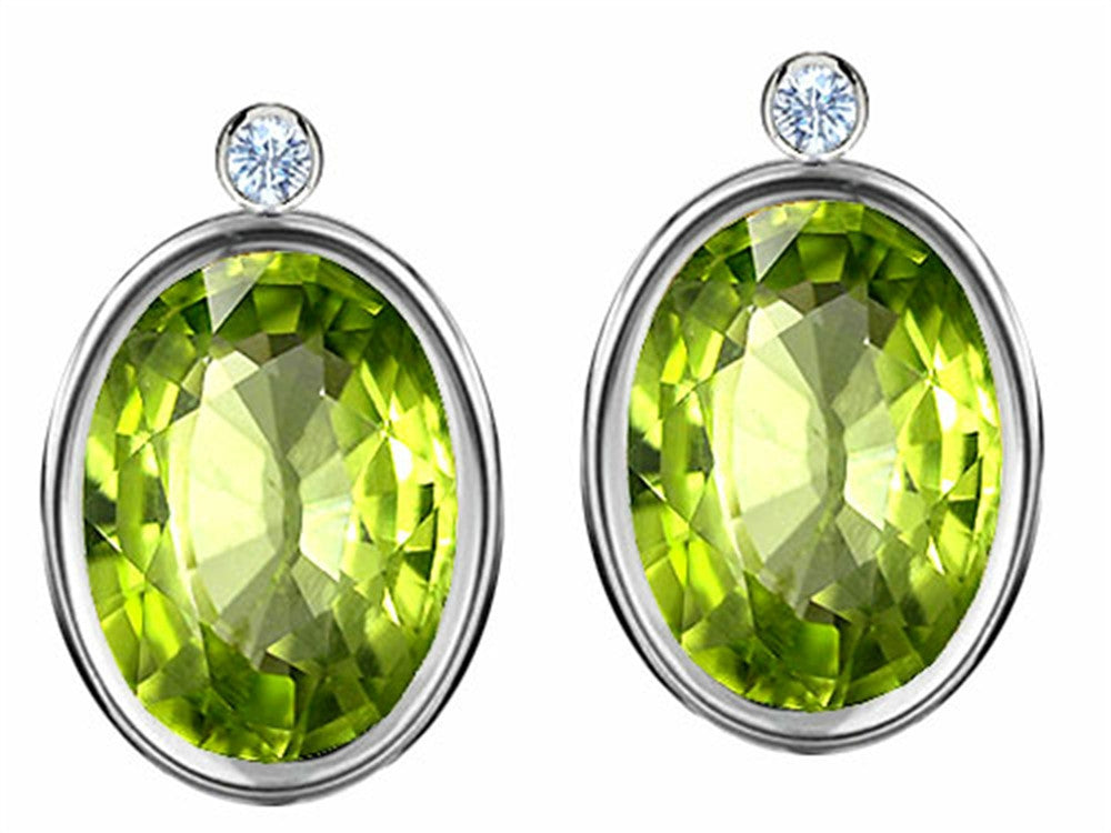 Star K Oval Genuine Peridot Earrings Studs with High Post On Back Sterling Silver