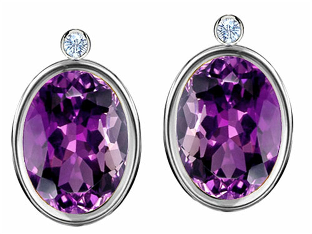 Star K Oval Genuine Amethyst Earrings Studs with High Post On Back Sterling Silver