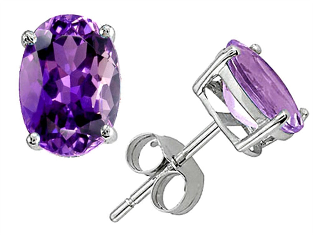 Star K Classic Oval 7x5mm Genuine Amethyst Earrings Studs Sterling Silver