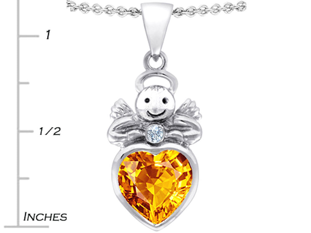 Star K Love Angel Pendant Necklace with 10mm Simulated Citrine Heart Sterling Silver