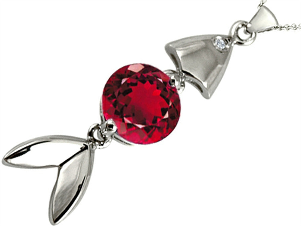 Star K Fish Pendant Necklace with Round Created Ruby Sterling Silver