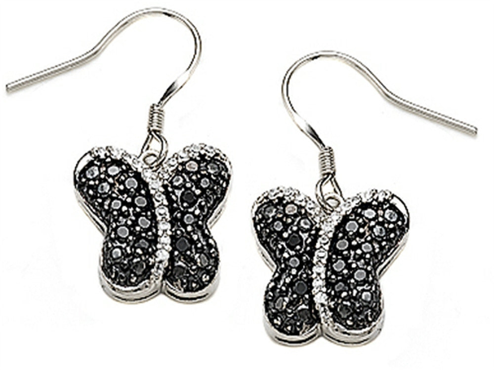 Star K Black and White Cubic Zirconia Butterfly Earrings Sterling Silver