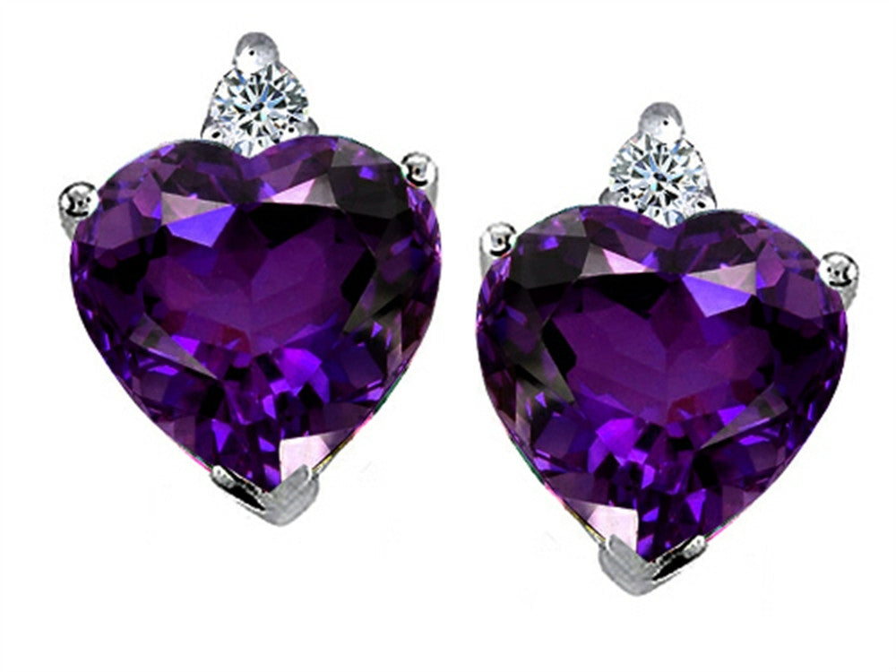 Star K 7mm Heart Shape Genuine Amethyst Earrings Sterling Silver