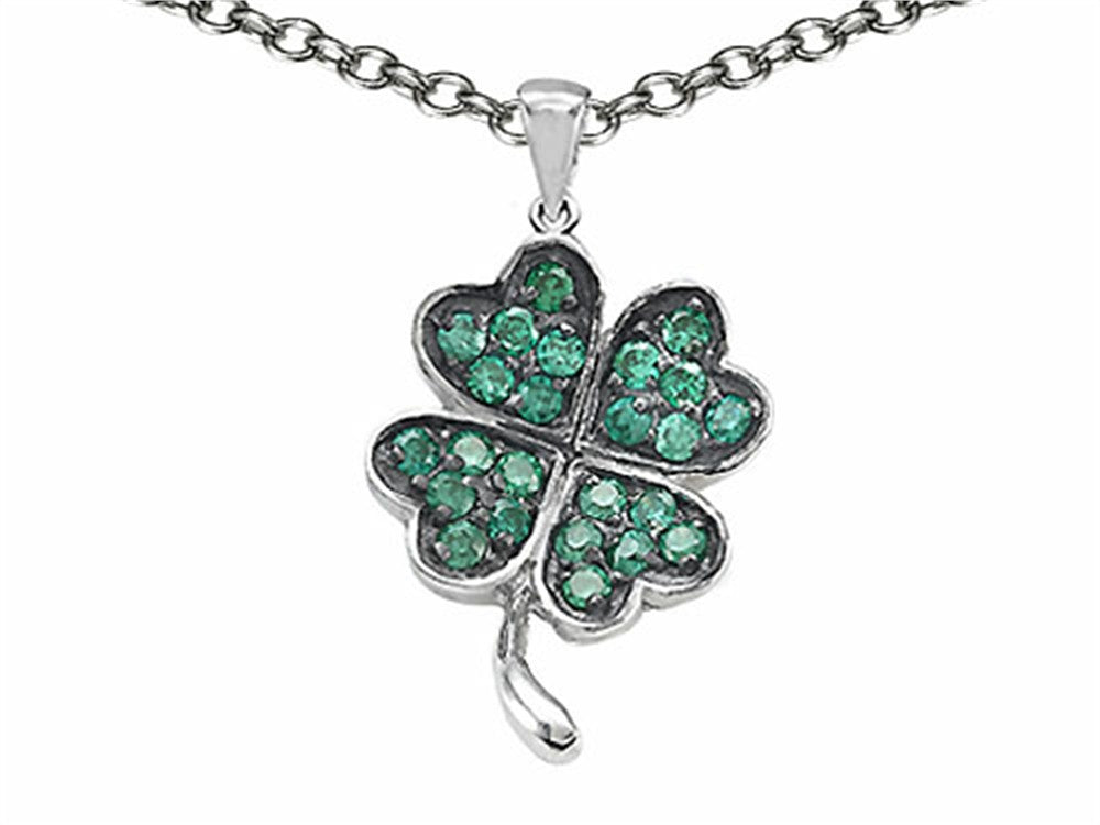 Celtic Lucky Clover Pendant Necklace with Simulated Emerald Sterling Silver