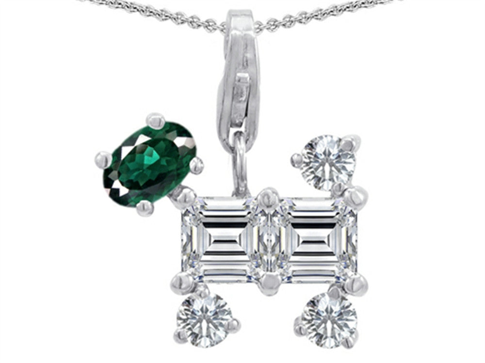 Star K Dog Pendant Necklace with Simulated Emerald Sterling Silver