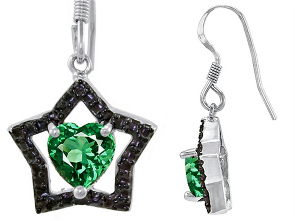 Star K Heart-Shape Simulated Emerald Black Star Hanging Hook Earrings Sterling Silver