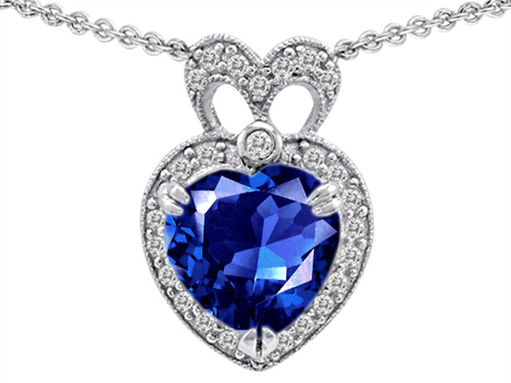 Star K Heart Shape Created Sapphire Pendant Necklace Sterling Silver