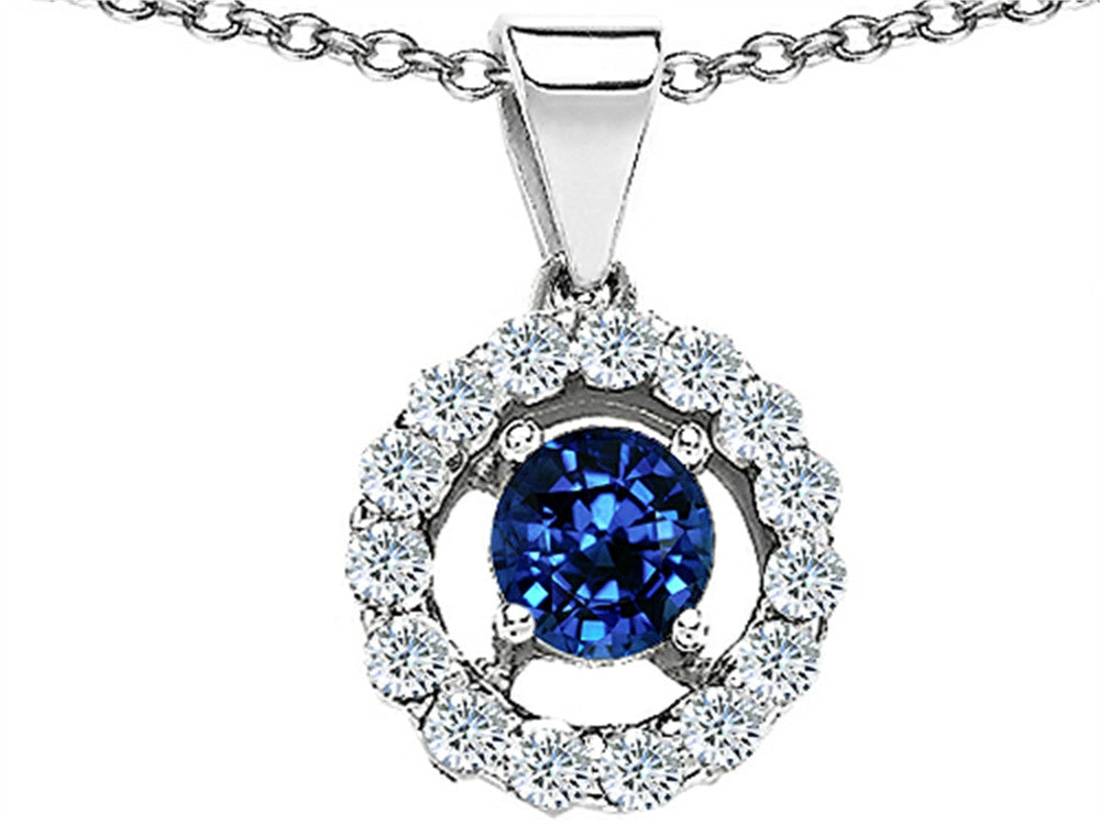 Star K Round Created Sapphire Pendant Necklace in Sterling Silver