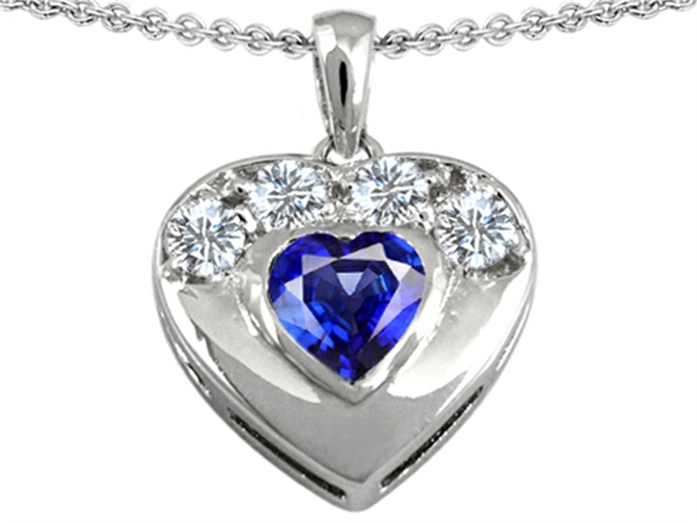 Star K Heart-Shape Created Sapphire Heart Pendant Necklace Sterling Silver