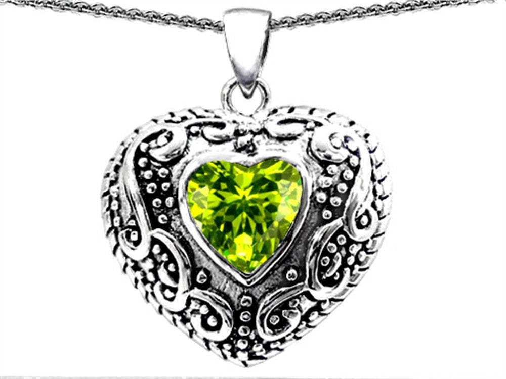 Star K Bali Style Puffed 7mm Heart Simulated Peridot Pendant Necklace Sterling Silver