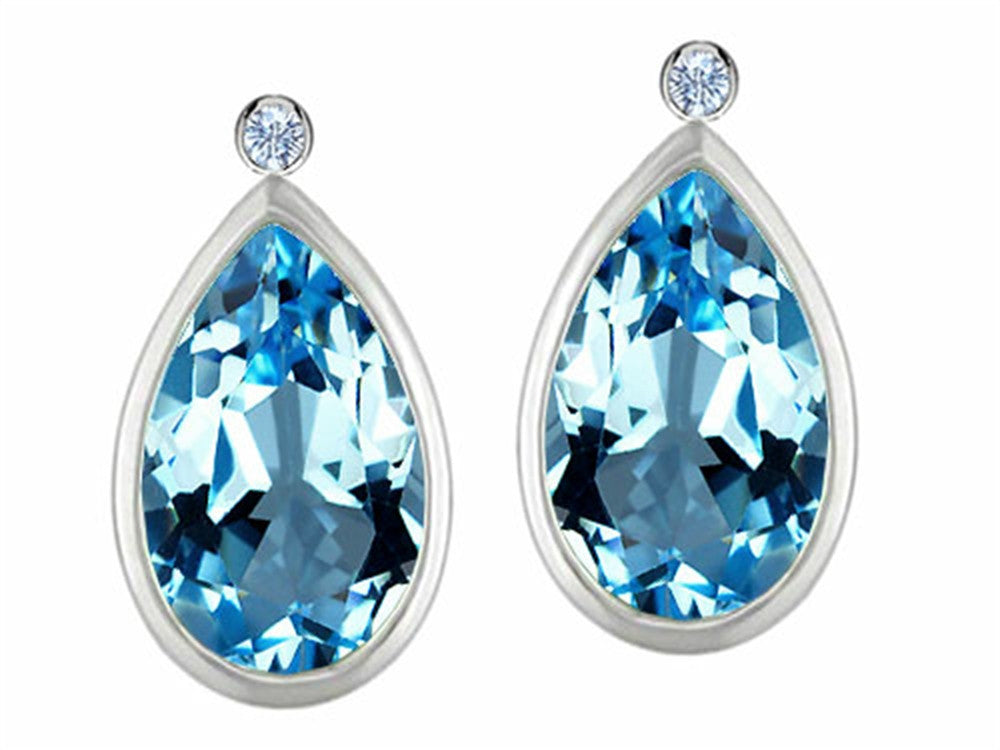 Star K Pear Shape Genuine Blue-Topaz Earrings Studs with High Post On Back Sterling Silver
