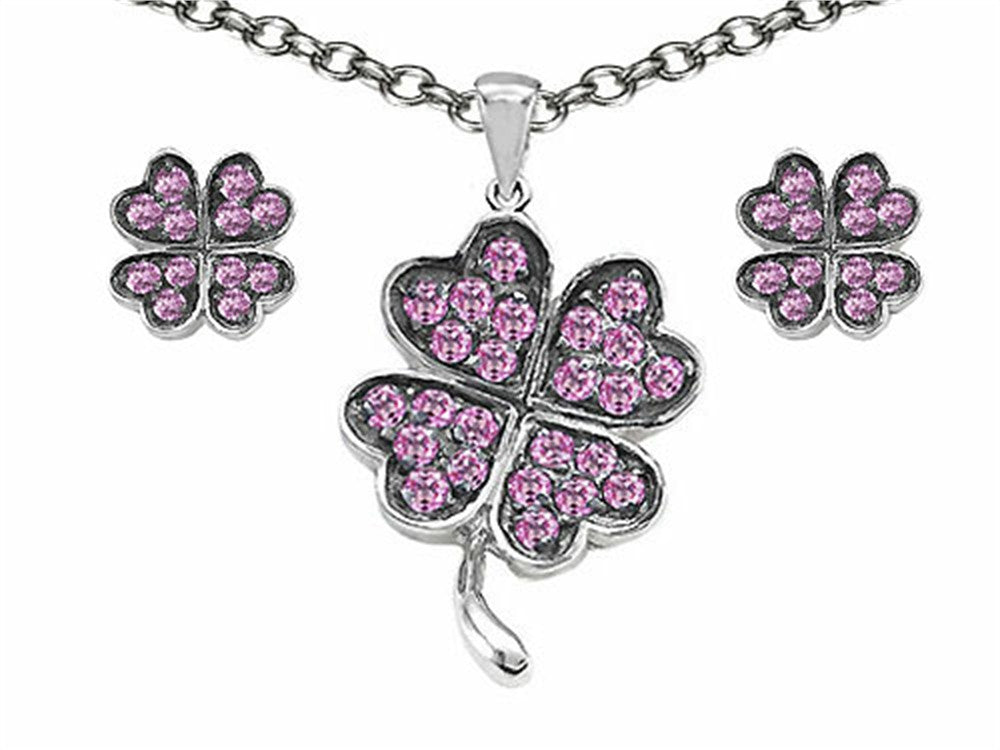 Celtic Created Pink Sapphire Lucky Clover Pendant with matching earrings Sterling Silver