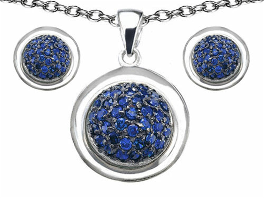 Star K Created Sapphire Round Puffed Pendant with matching earrings Sterling Silver
