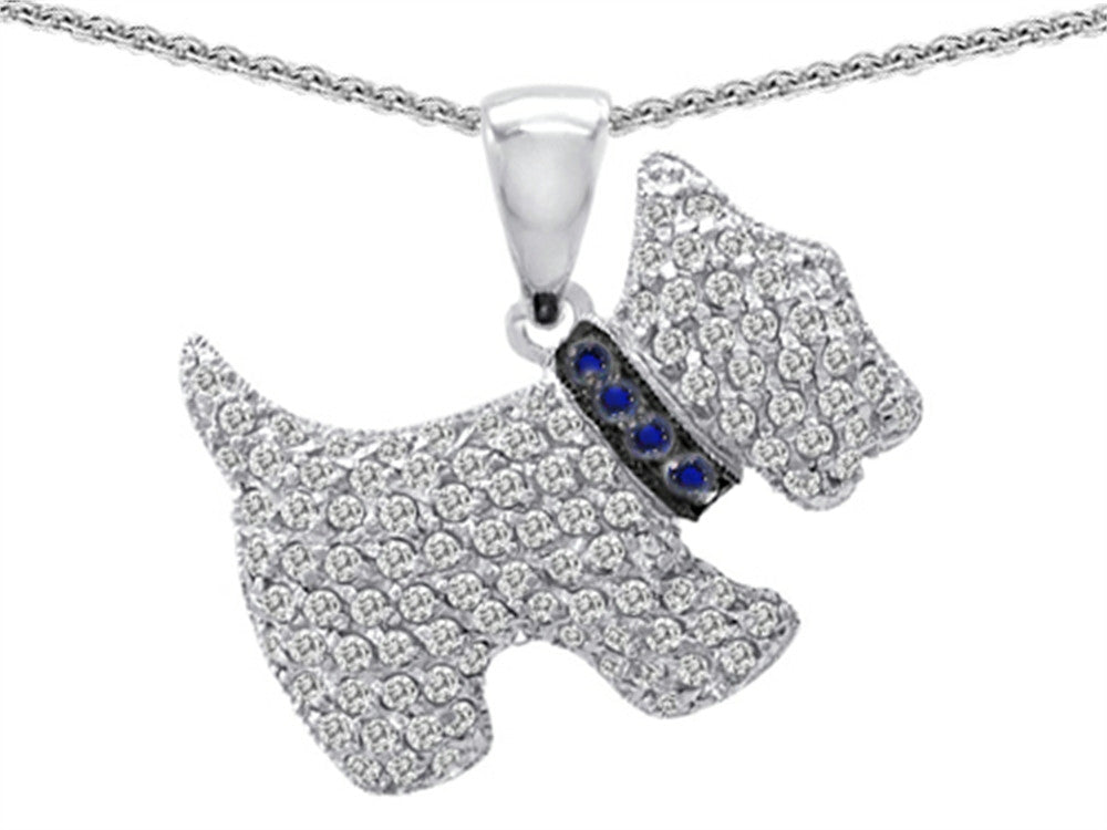 Star K Dog Pendant Necklace with Round Created Sapphire Sterling Silver
