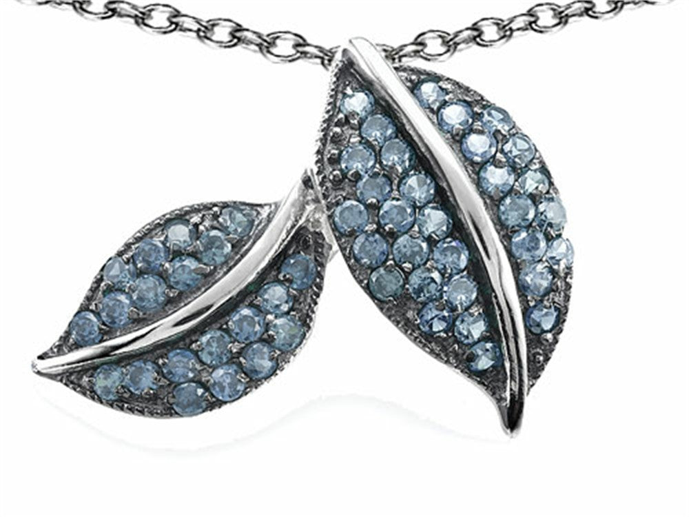 Star K Nature Lover Leaf Pendant Necklace with Simulated Aquamarine Sterling Silver